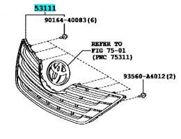Решетка радиатора Toyota Camry 40 (Оригинал)
